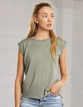 Womens Flowy Muscle Tee with Rolled Cuff